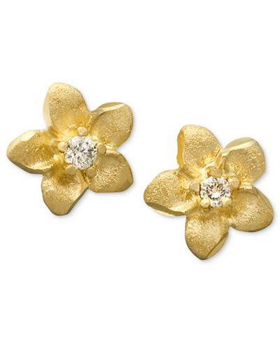 Flower Accent Earrings children s 14k gold earrings accent flower studs