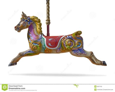 carousel horse isolated on white background stock photo