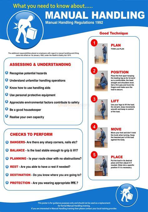printable safe lifting poster manual handling poster 420wmm x 595hmm manual handling
