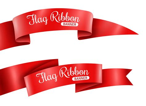red ribbons banners set vector   vector art