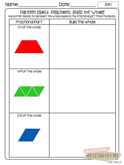 pattern block fractions video printable patterns images