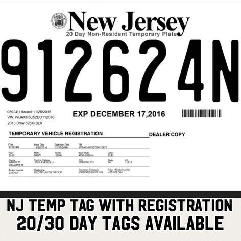 Nj Temp Tags Cars Trucks In South Hackensack Nj Dealer Tag Template