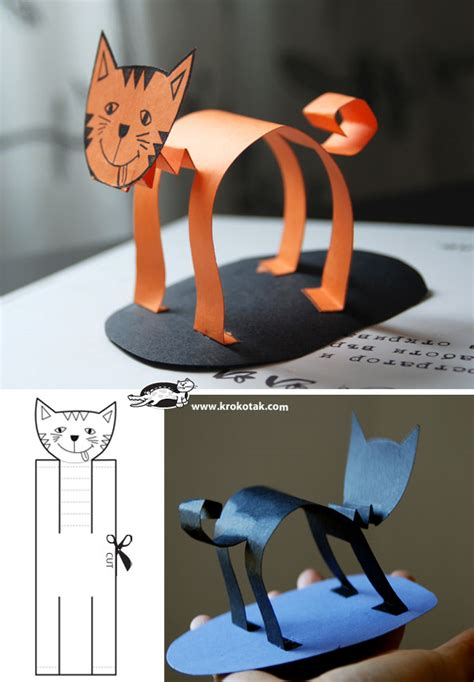 cat craft projects krokotak three cats stories in paper