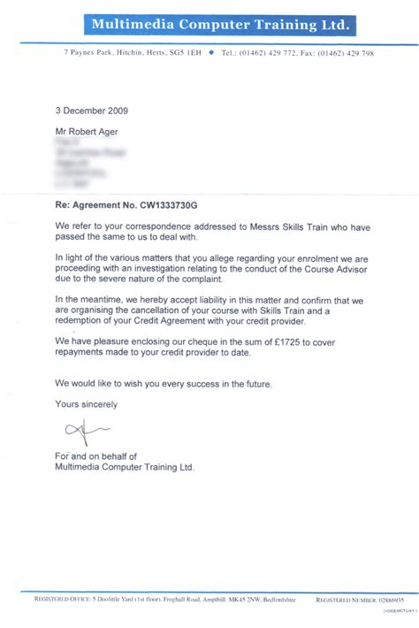 Customer Service Letter No Refund Metropolitan International Schools Information Documents