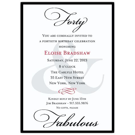 wording for 40th birthday invitations classic 40th birthday milestone invitations paperstyle