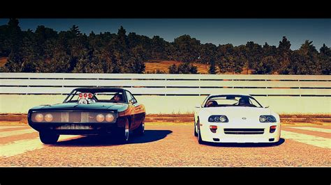 fast five dodge charger race youtube forza horizon 2 fast and furious brians toyota supra vs