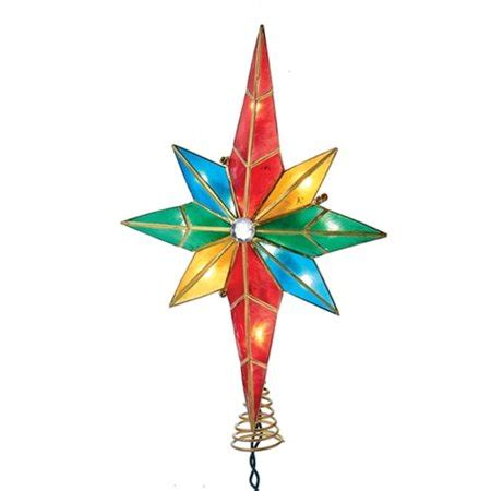 multi colored star tree topper multi colored of bethlehem capiz tree topper walmart