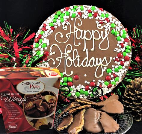 combo snowflake border chocolate pizza peanut butter wings