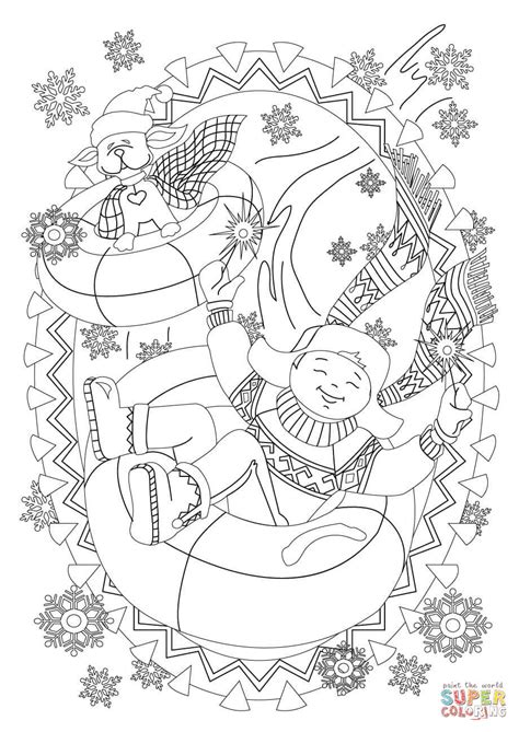 sledding coloring page dog sledding down hill a boy with his dog are sledding down the hill coloring