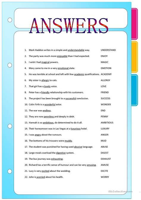 printable worksheets nouns verbs adjectives suffixes adjectives formed from nouns and verbs