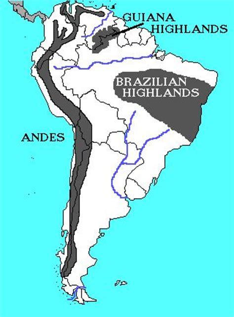 south america map highlands region mostly highlands region