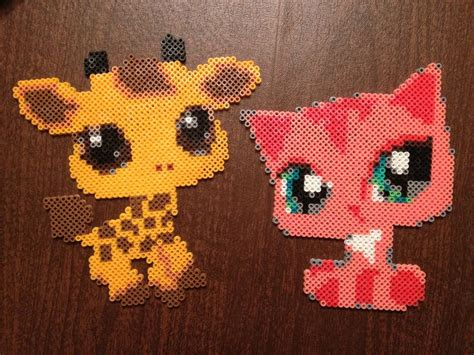 hama animals lps littlest pet shop hama perler bead giraffe cat