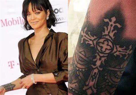 rihanna cross tattoo rihanna s 24 tattoos their meanings guru