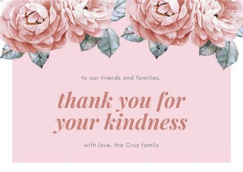 template card for funeral flowers pink floral funeral thank you card templates by canva