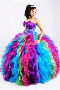 colorful quinceanera dresses 2015 amazing design rainbow gown sweet 16 dresses