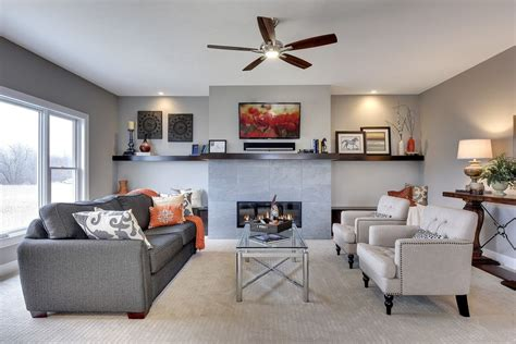 living room with flush light ceiling fan in chaska mn on
