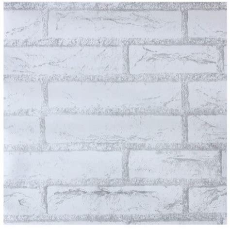Jual Wallpaper Batu Bata Putih | jual wallpaper sticker batu bata putih 10 meter tokobaik