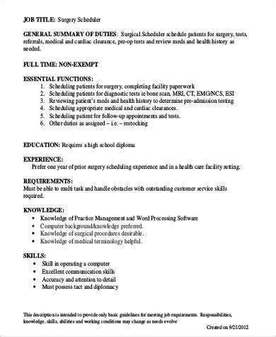 scheduler description surgery scheduler description sle 6 exles in