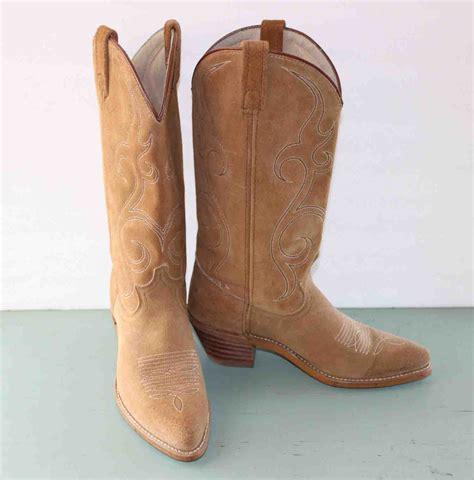 acme camel color suede cowboy boots size 7