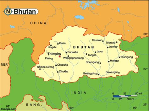 where is bhutan on a world map country of bhutan map