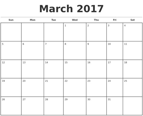 blank monthly calendar 2017 printable monthly calendar