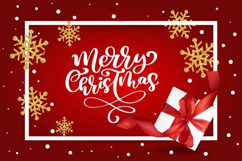 merry christmas lettering red background vector illustration   mesh gift box  golden