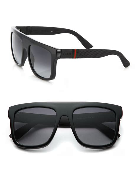 gucci shades for lyst gucci 55mm flat top injected sunglasses in black for