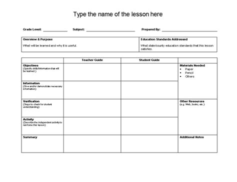 lesson plans template microsoft word templates