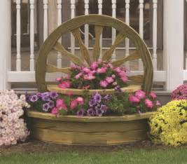amish wooden large wagon wheel planter landscaping