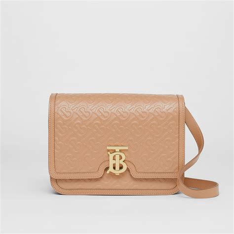medium monogram leather tb bag  light camel women