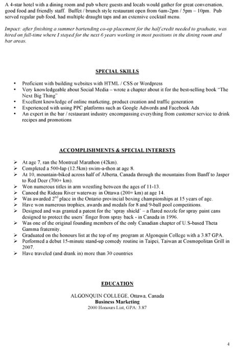 Resume Sle For Embassy Bartender Resume Template Australian Embassy Philippines