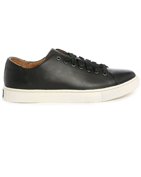 polo sneakers mens polo ralph jermain black leather sneakers in black