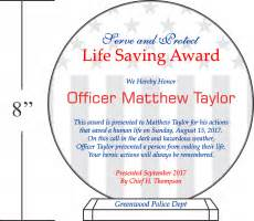 Life Saving Award Certificate Template Appreciation Plaques For Police Officers Sheriffs Diy