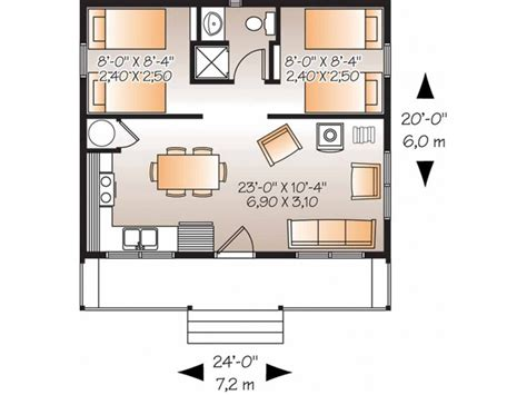 2 Bedroom House Floor Plans Eplans Country House Plan Two Bedroom Country 480