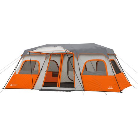 ozark trail 12 person instant cabin tent with screen room ozark trail 18 quot x 10 instant cabin tent with integrated led light sleeps 12 ebay