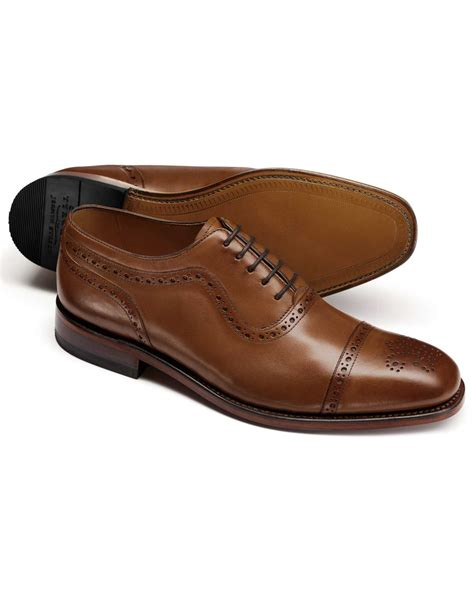 toe cap oxford shoes brown toe cap brogue oxford shoes charles tyrwhitt