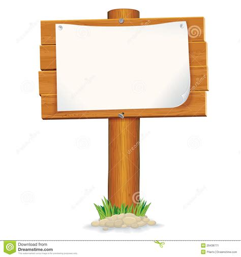 wooden sign with paper vector graphics stock vector