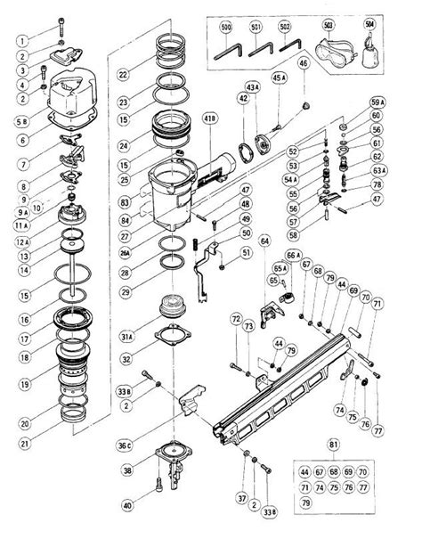hitachi nail gun parts diagram dewalt d51850 framing nailer parts type 1 parts addthis