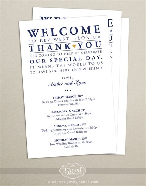 Itinerary Cards for Wedding Hotel Welcome Bag   Printed Schedule   Destination Wedding   Welcome