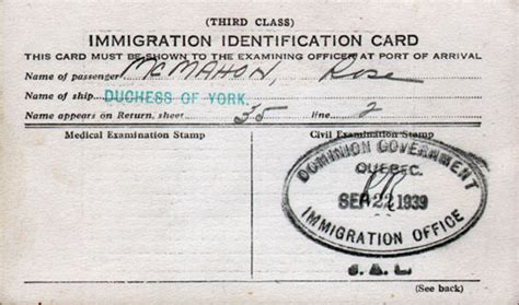Identification Card Ellis Island Template by Canadian Immigration Identification Card Gg Archives