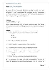 a questionnaire for identify failures in business analysis