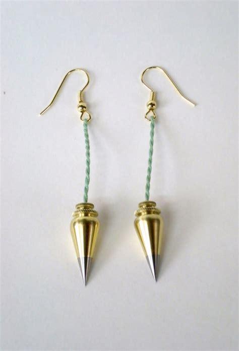 surveyor plumb bob earrings brass steel by qualityinvermont