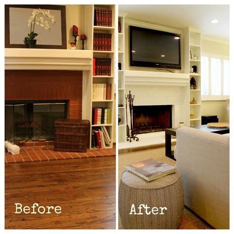 Painted Fireplaces Before And After by White Painted Fireplace Before And After Transitional