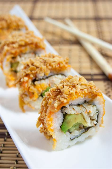 sushi in crunchy crab sushi roll s u s h i sushi