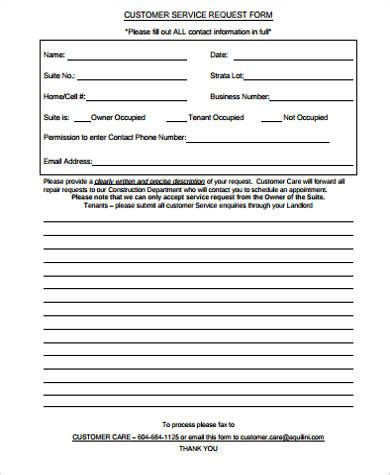 sample customer request forms  ms word