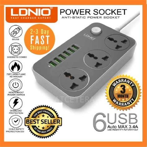 Charger Ldnio 34a 3usb Slot genuine 2018 ldnio sc3604 3 4a max uk msia power socket with 3 ac 6 usb fast charger