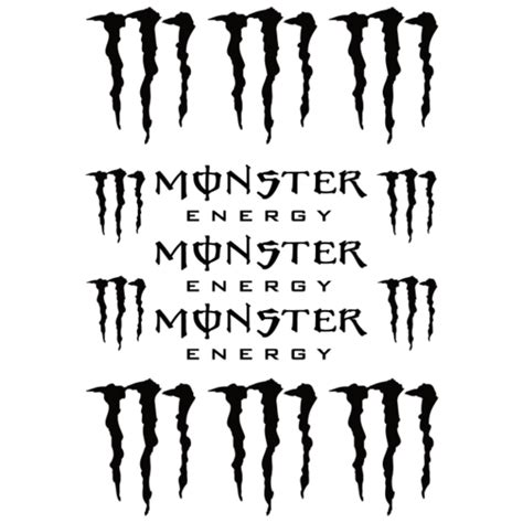 Monster Energy Sticker White by Autocollant Monster Energy Clipart Best