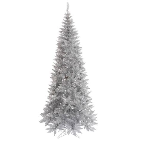 6 12 x 34 tinsel slim christmas tree with 400 clear lights vickerman 437858 silver colored tree