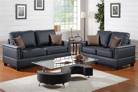 Black Sofa And Loveseat Set by Poundex Arri F7873 Black Leather Sofa And Loveseat Set
