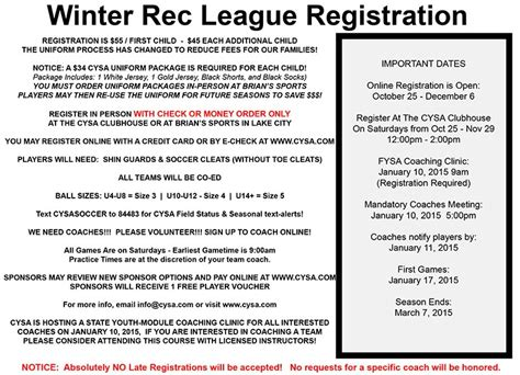 Got Soccer Background Check Cysa Winter Rec Registration Now Open Jacksonville Youth Soccer